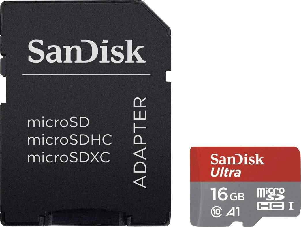 SanDisk Ultra 16GB Micro SDHC UHS-I/Class 10 Card with Adapter